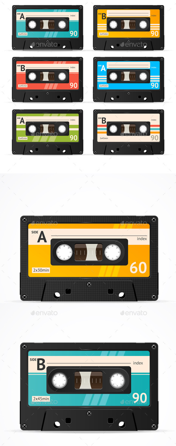 590x1497 Vector Cassette Tape Collection By Mousemd Graphicriver