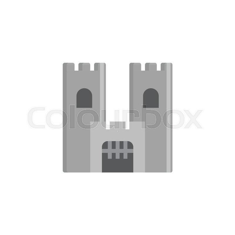 800x800 Castle Building Flat Icon, Vector Sign, Colorful Pictogram