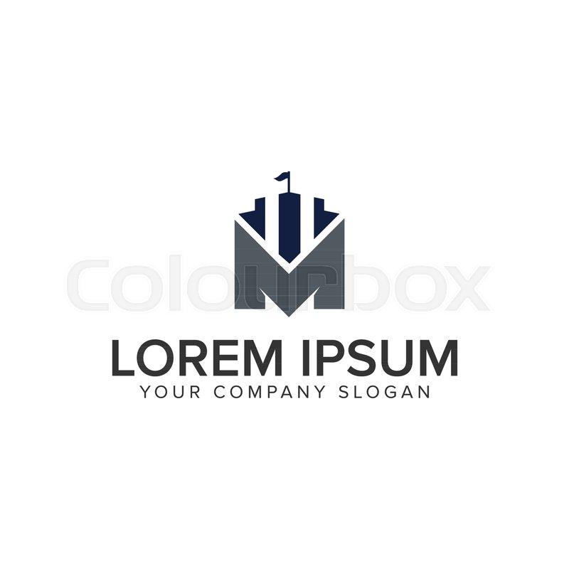 800x800 Castle Logo With Letter M Design Concept Template Design Concept