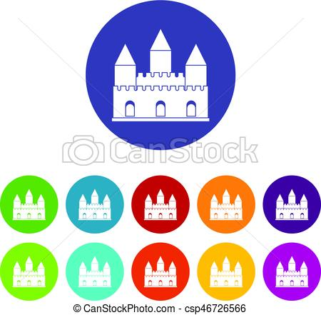 450x441 Castle Tower Icons Set Flat Vector. Castle Tower Icons Set In