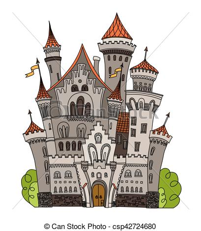 409x470 Cartoon Fairy Tale Castle Tower Icon. Cute Architecture. Vector