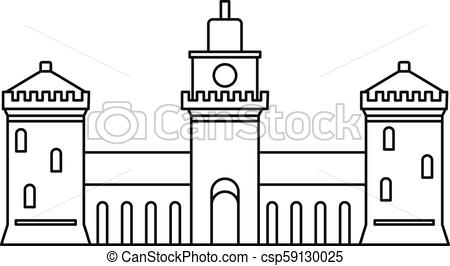 450x266 Old Castle Icon, Outline Style. Old Castle Icon. Outline