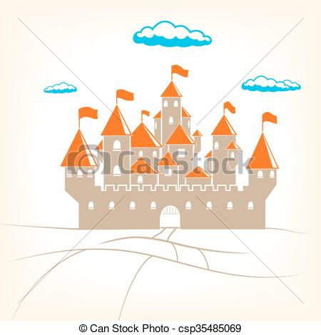 450x470 Big Old Castle Vector Illustration. Big Old Castle Cartoon Vector