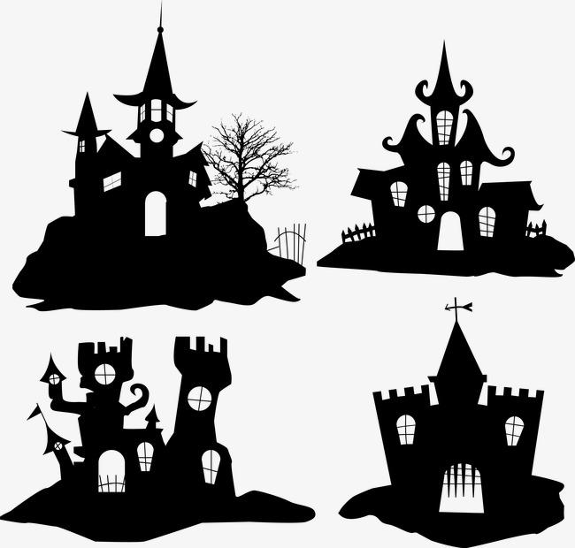650x620 Halloween Castle Silhouette Vector Material, Halloween Vector