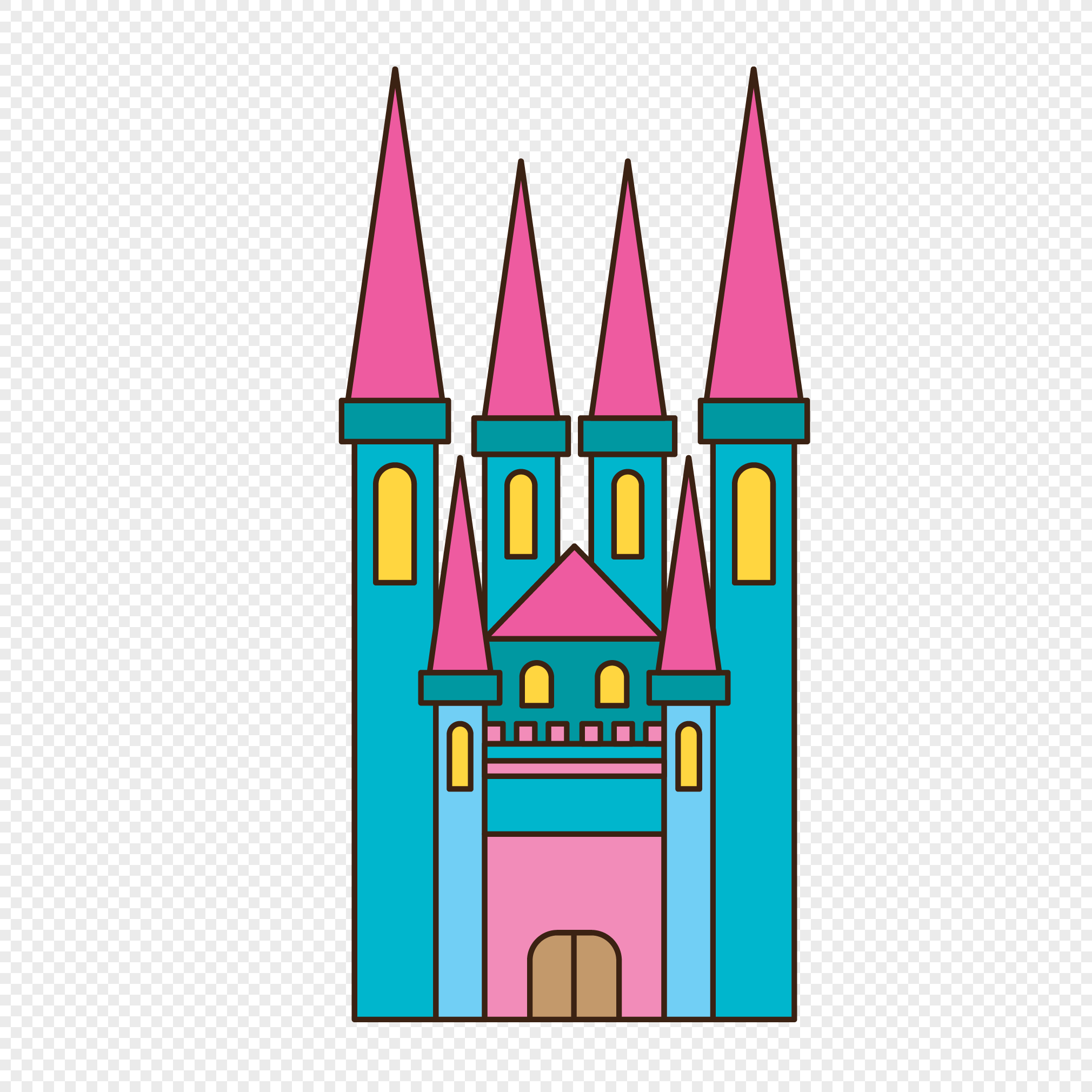 2020x2020 Lovely Castle Vector Png Image Picture Free Download