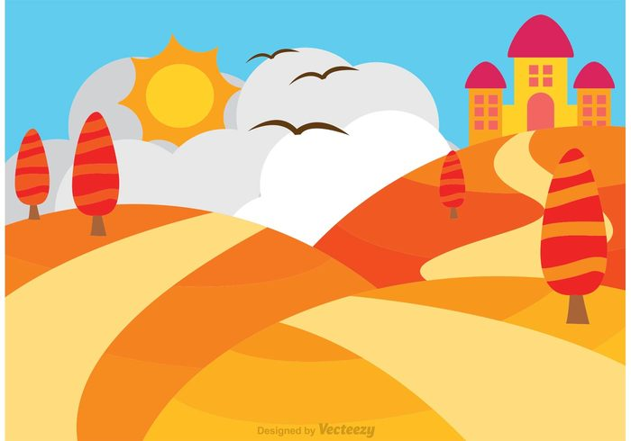 700x490 Rolling Hills With Castle Vector Free Vectors Ui Download