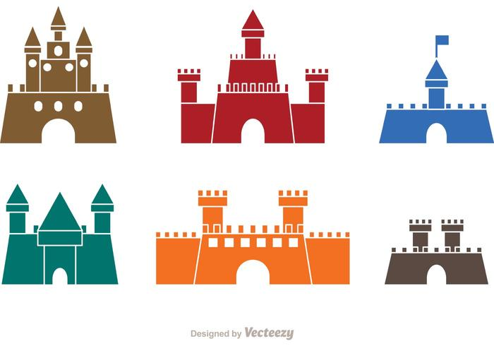 700x490 Colorful Castle Icons Vector