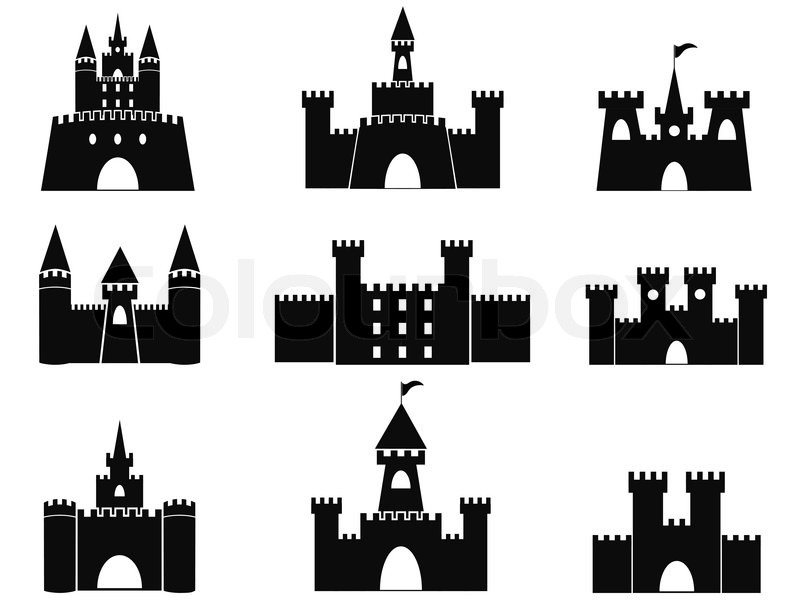 800x600 Isolated Black Castle Icons From White Background Stock Vector