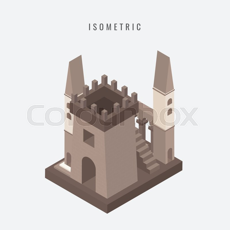 800x800 Isometric Icon Of The Fortress Tower Of The Medieval Castle