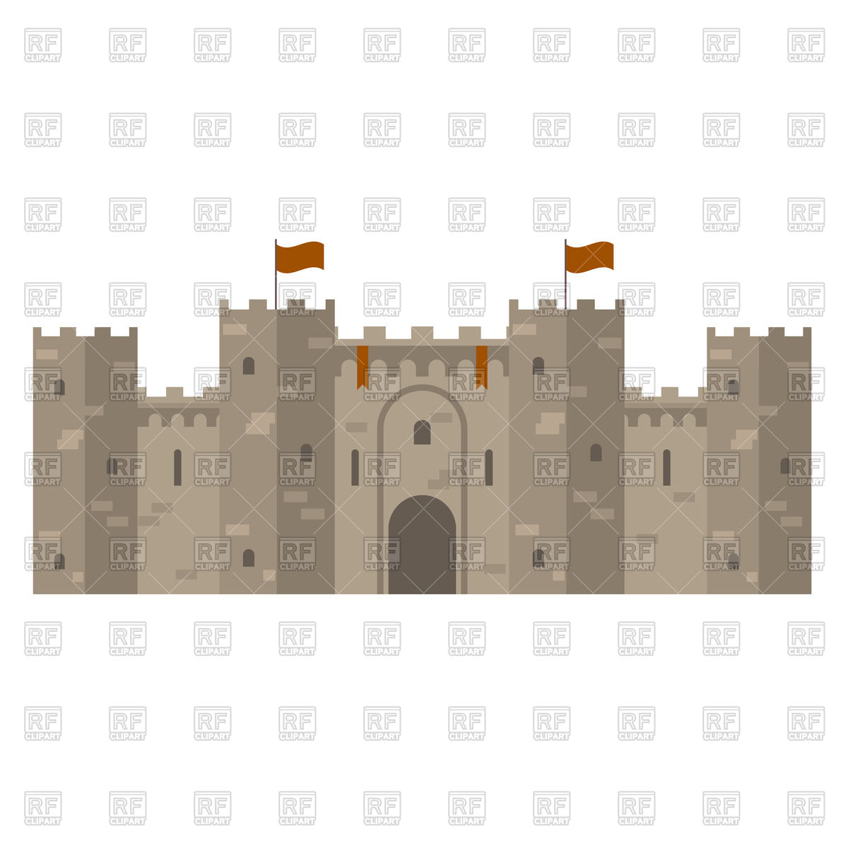 1200x1200 Medieval Castle With Fortified Wall And Towers Vector Image