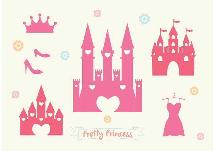 700x490 Pink Princess Castle Vector Set