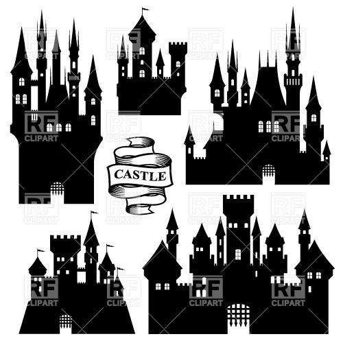 500x500 Set Of Medieval Castle Silhouettes Vector Image Vector Artwork
