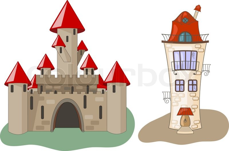 800x528 Vector Castle And House Stock Vector Colourbox