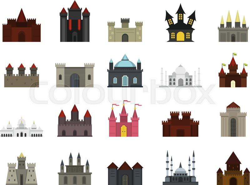 800x592 Castle Icon Set. Flat Set Of Castle Vector Icons For Web Design