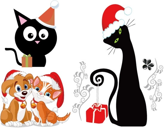 549x431 Christmas Vector Cute Cats And Dogs Free Vector In Encapsulated