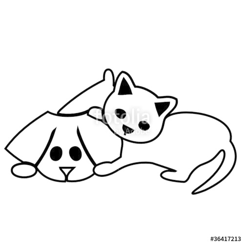 500x500 Cute Cat And Dog Silhouettes Stock Image And Royalty Free Vector
