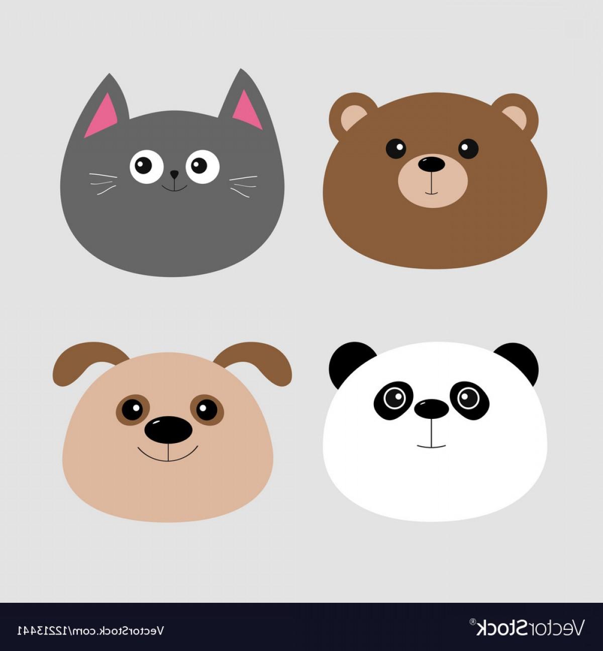 1200x1296 Animal Head Set Cartoon Kawaii Baby Bear Cat Dog Vector Shopatcloth