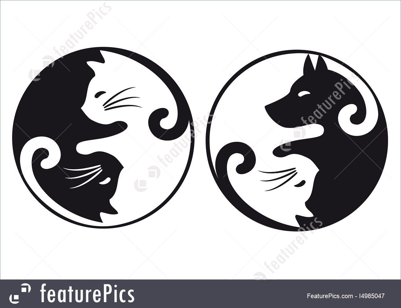 1300x1001 Domestic Animals Yin Yang Cat And Dog, Vector Set