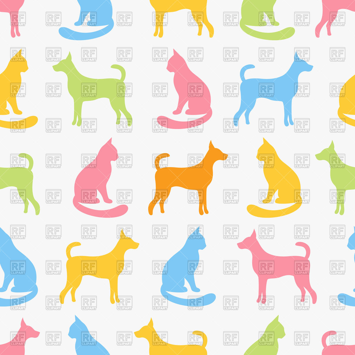 1200x1200 Animal Seamless Pattern Of Cat And Dog Vector Image Vector