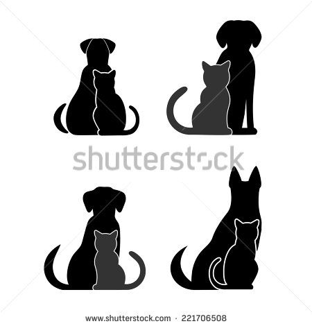 450x470 Silhouettes Of Pets, Cat Dog