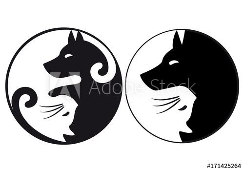 500x350 Yin Yang Symbol Cat And Dog, Vector