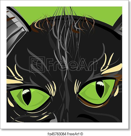 561x581 Free Art Print Of Cat Eyes. Vector Illustration Of A Close Up Cat