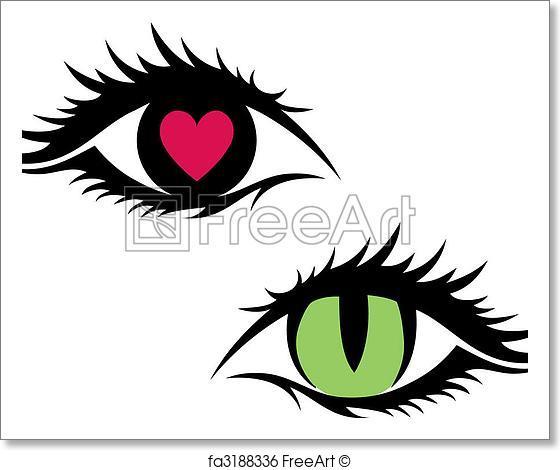 560x470 Free Art Print Of Female Eyes, Vector. Green Cat Eye And Eye With