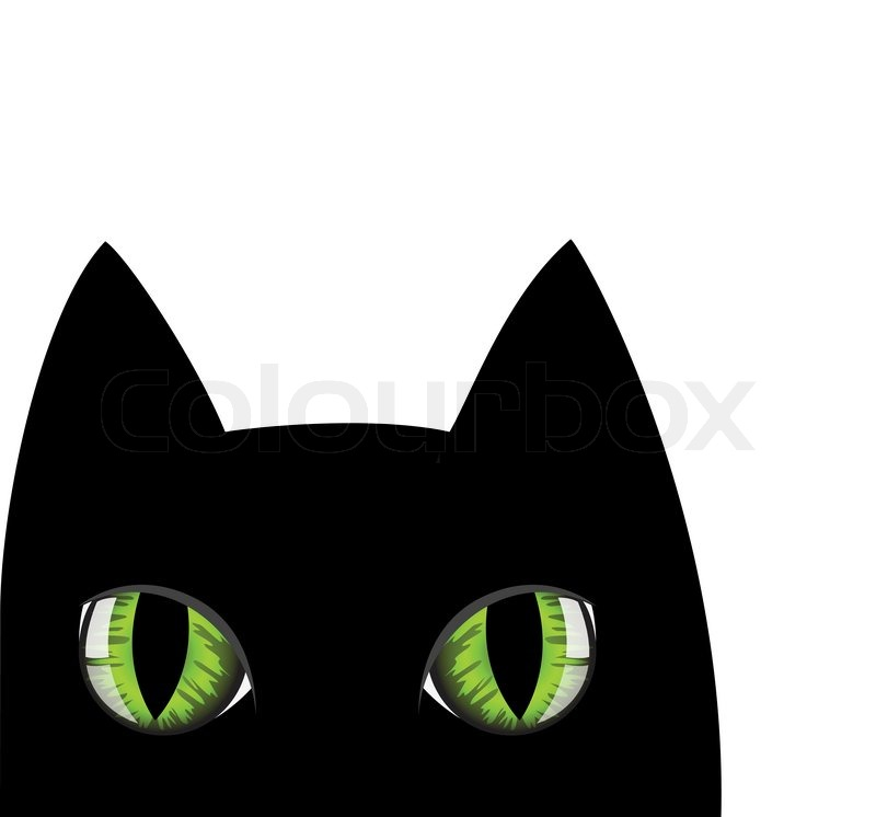 800x746 Muzzle Of A Black Cat With Green Eyes Stock Vector Colourbox