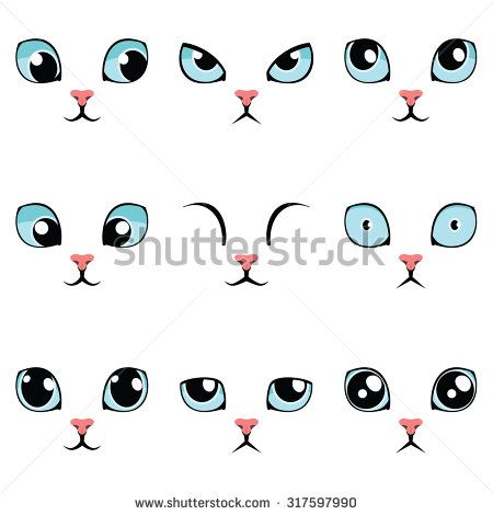 450x470 Set Of Funny Cartoon Blue Cat Eyes Isolated On White. Vector