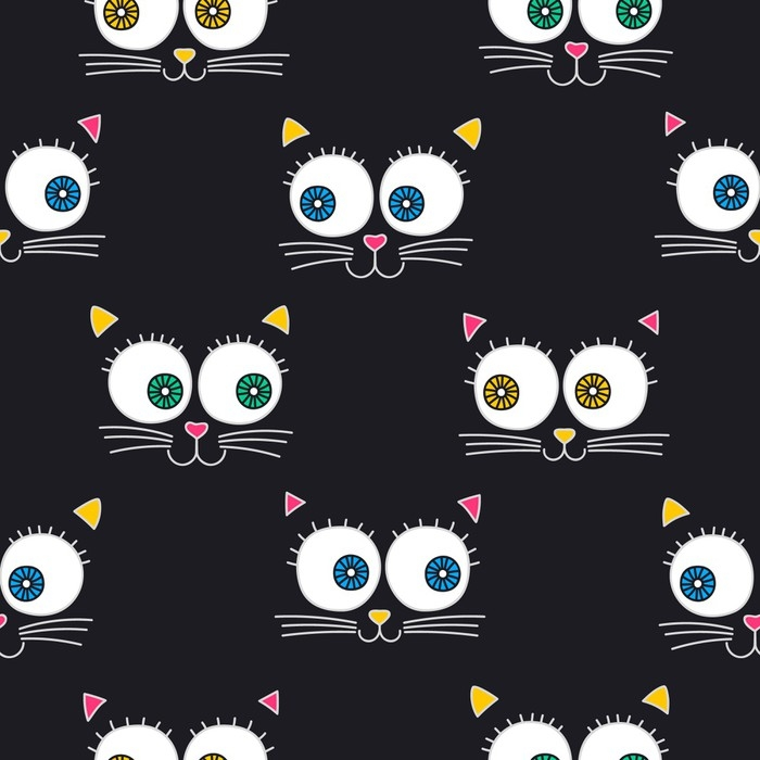 700x700 Cat Face. Vector Seamless Pattern With Cats Faces. Cute Kitten