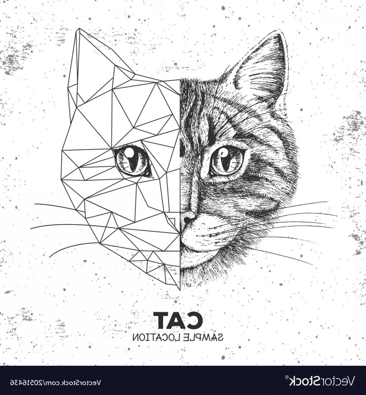 1200x1296 Hipster Animal Realistic And Polygonal Cat Face Vector Orangiausa