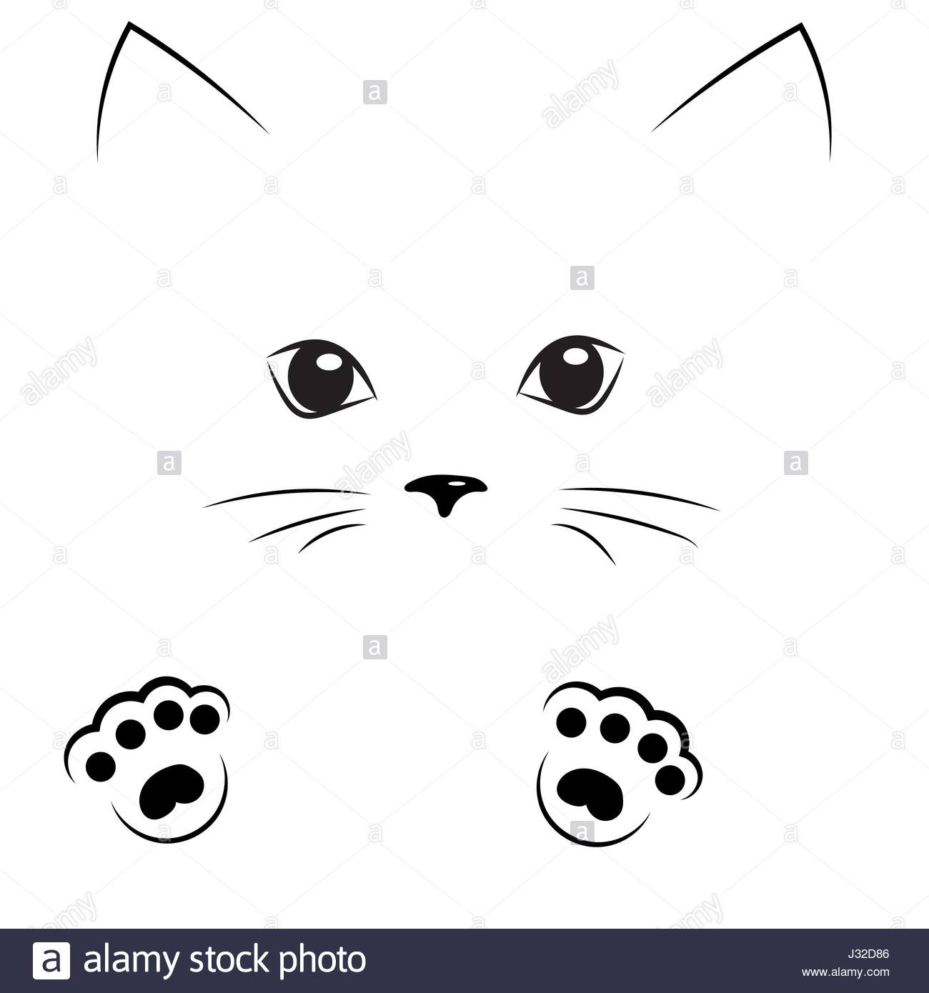 1300x1390 Monumental Outline Of Cat Face Vector Black Drawing With Paws