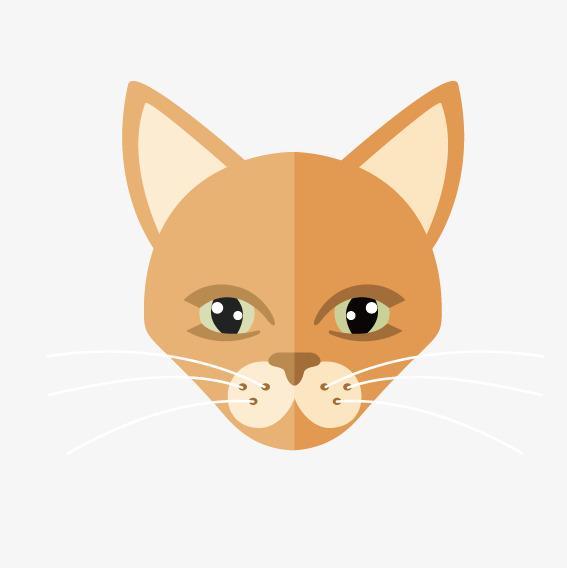 567x568 Yellow Cartoon Cat Face, Cartoon Vector, Cat Vector, Face Vector