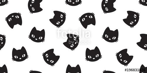 500x250 Cat Seamless Pattern Cat Head Vector Kitten Isolated Wallpaper