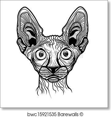362x382 Art Print Of Vector Illustration Of Cat Head Barewalls Posters