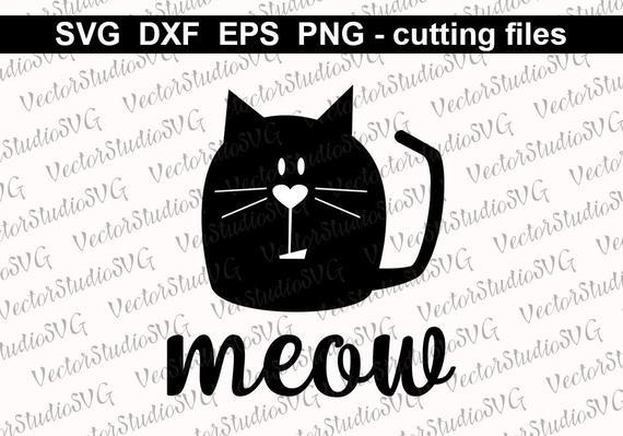 570x399 Cat Svg Cut Files Cat Vector Clip Art Instant Download Png Dxf Etsy