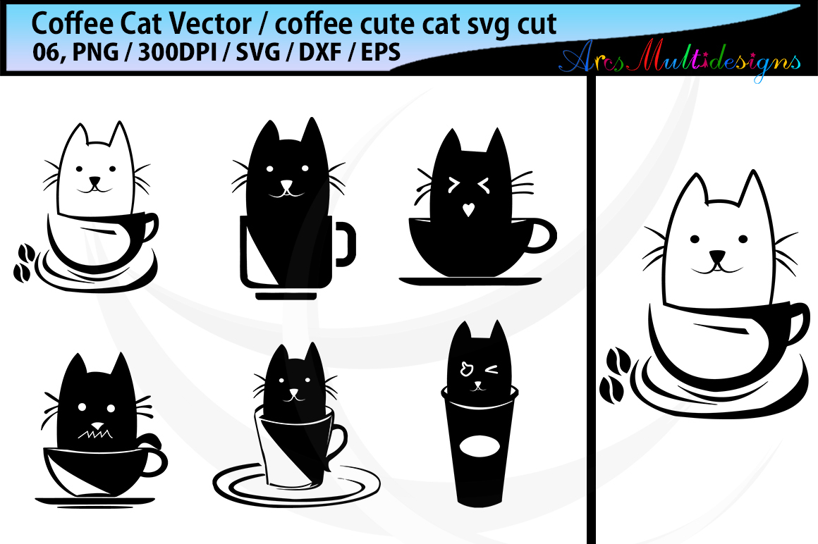 1160x772 Coffee Cat Silhouette Svg Coffee Svg Cat Svg Coffee