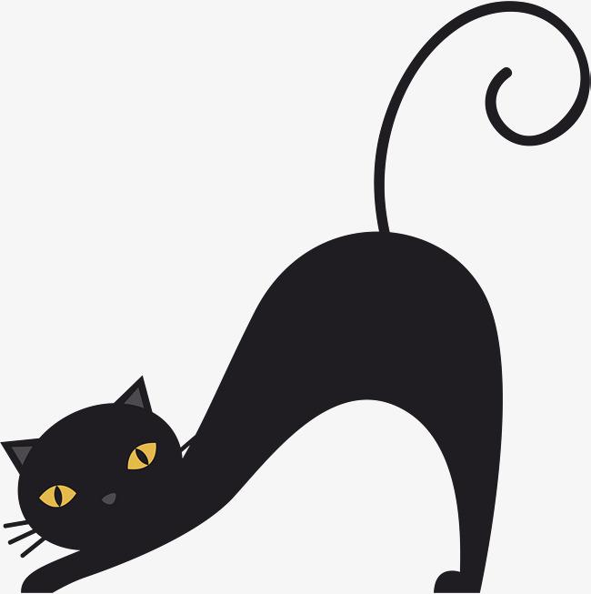 650x653 A Stretched Black Cat, Black Vector, Cat Vector, Cat Clipart Png