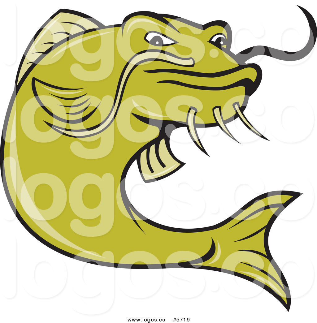 1024x1044 Royalty Free Vector Of An Angry Green Catfish Fishing Logo By