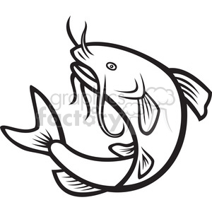 300x300 Royalty Free Black And White Catfish Jump Mp 388114 Vector Clip