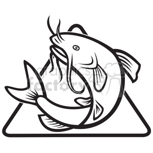 300x300 Royalty Free Black And White Catfish Jump Mp Dia 388109 Vector