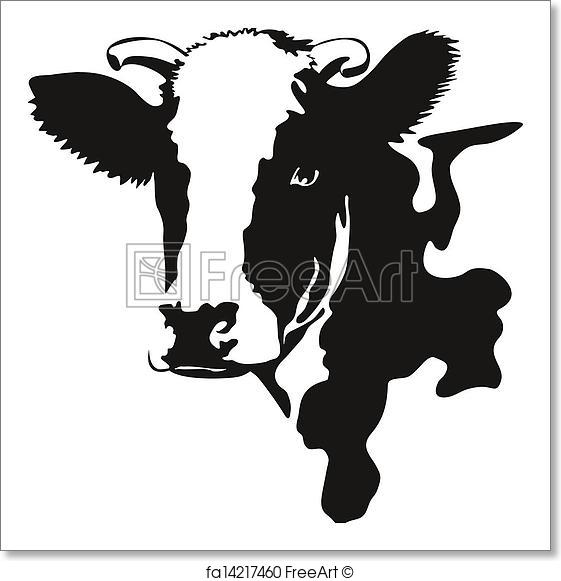 561x581 Free Art Print Of Vector Illustration Of A Cow Head. Vector