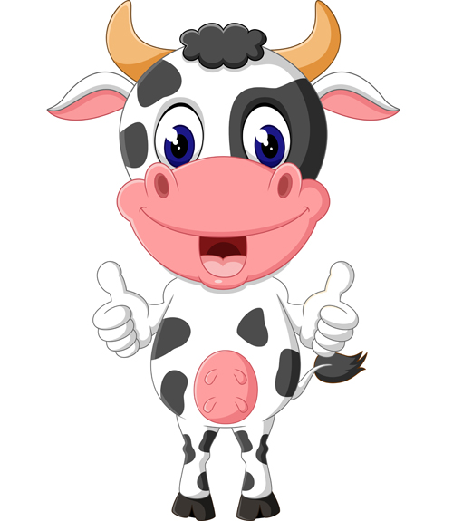 500x575 Cartoon Baby Cow Vector Illustration 08 Free Download