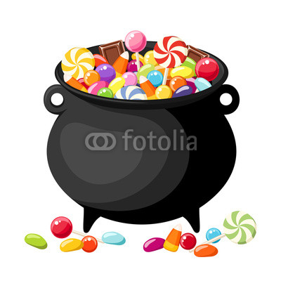 400x400 Halloween Candies In Witches Cauldron Vector Illustration Phone