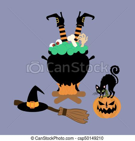 450x470 Halloween Witch Cauldron On The Purple Background. Vector
