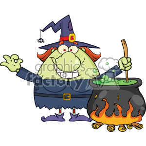 300x300 Royalty Free Ugly Halloween Witch Cartoon Mascot Character