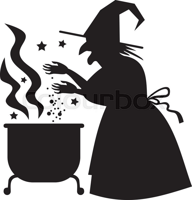 767x800 Silhouette Witch Preparing Potion In The Magic Cauldron. Vector