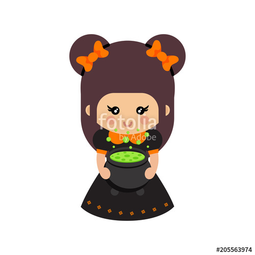 500x500 Cartoon Cute Witch With Bow And Cauldron Vector Stock Image And