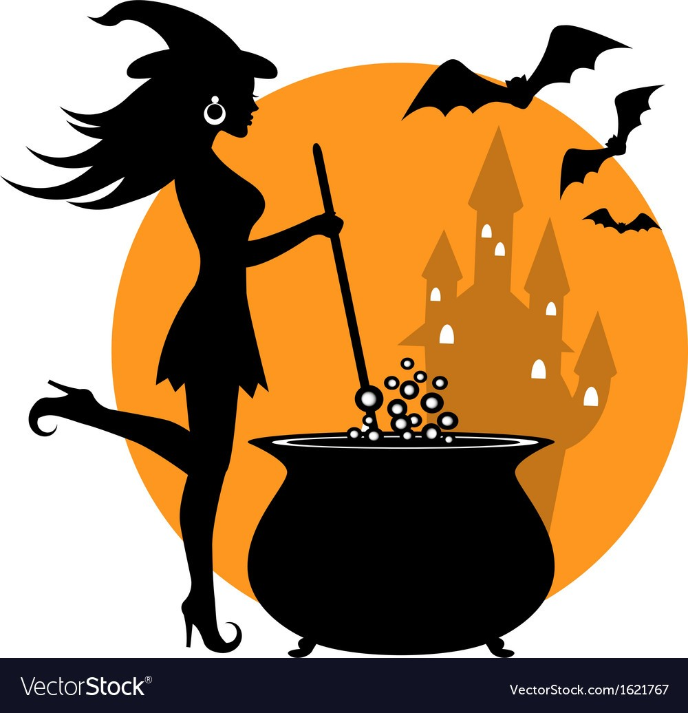 1000x1036 Beautiful Witch And Cauldron Vector 1621767 0