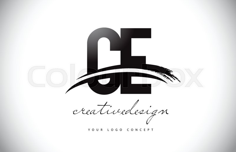 800x515 Ce C E Letter Logo Design With Swoosh And Black Brush Stroke